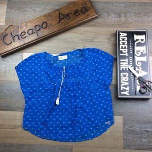 Hollister Sheer Boho Women Blouse XS Blue